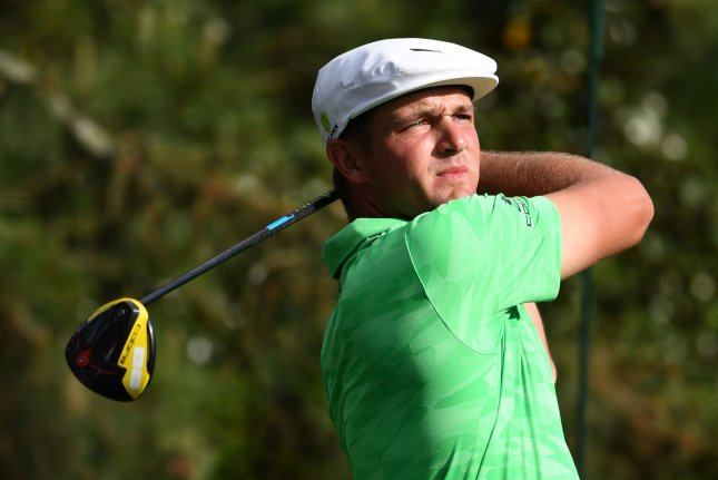 Bryson DeChambeau watches his drive off of the 15th tee during the first round of the Masters Tournament on Thursday at Augusta National Golf Club in Augusta, Georgia. Photo by Kevin Dietsch/UPI