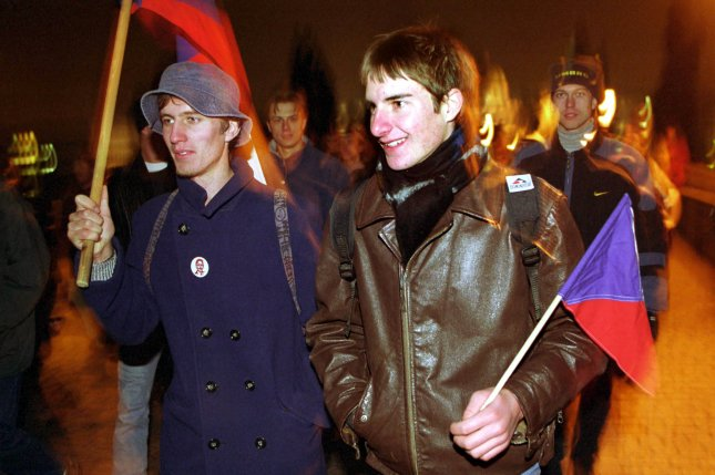 About 1,000 Czech students march through central Prague on November 17, 1999, in commemoration of the 10th anniversary of Czechoslovakia's Velvet Revolution, which ended decades of communist rule. File Photo by Sean Gallup/UPI