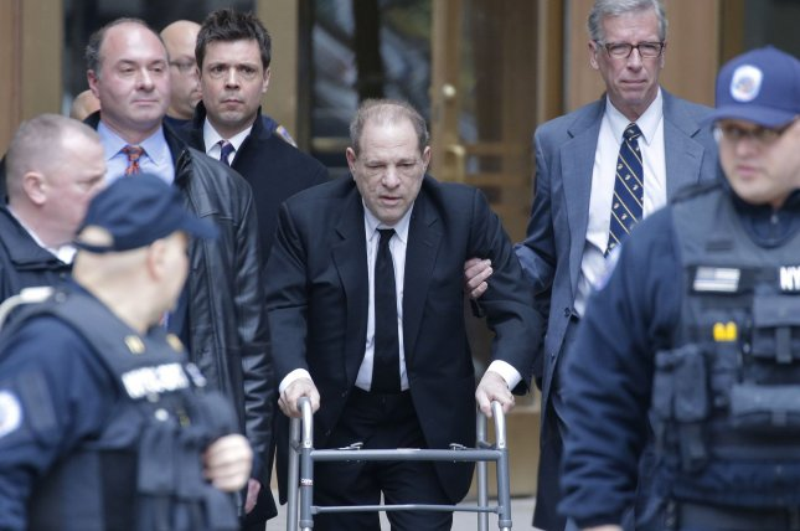 Harvey Weinstein leaves the Manhattan Supreme Court on Monday. Photo by John Angelillo/UPI