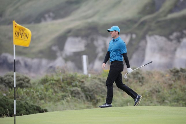 Rory McIlroy can tie Nick Faldo for the most weeks as the world's No. 1 golfer for a European player if he holds the spot for the next two weeks. File Photo by Hugo Philpott/UPI