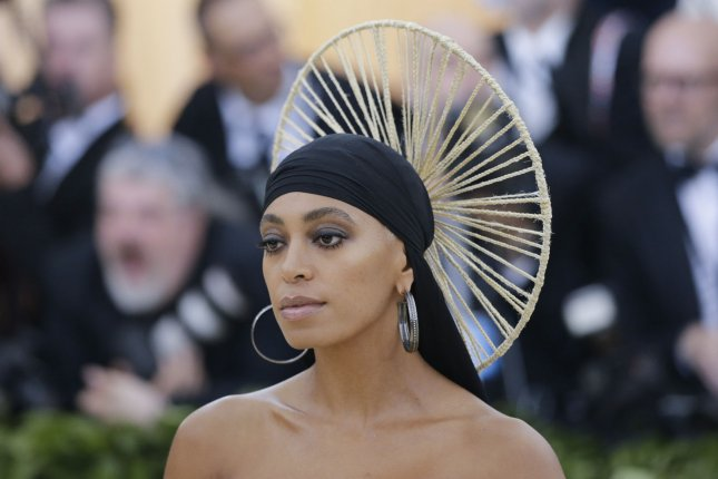 Solange Knowles arrives on the red carpet at the Metropolitan Museum of Art's Costume Institute Benefit Heavenly Bodies: Fashion and the Catholic Imagination in New York City on May 7, 2018. The singer turns 34 on June 24. File Photo by John Angelillo/UPI