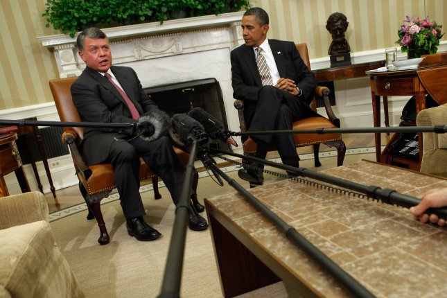 President Barack Obama (R) and Jordan's King Abdullah II after a meeting in the Oval Office at the White House in Washington, Jan. 17, 2012. UPI/Chip Somodevilla/Pool