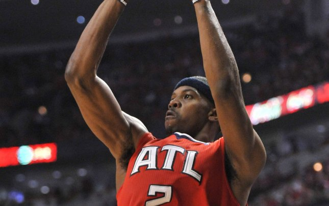 Atlanta Hawks guard Joe Johnson, shown in a game last May, had tendinitis in his left knee and will miss at least two games, the NBA team said Tuesday. UPI/Brian Kersey