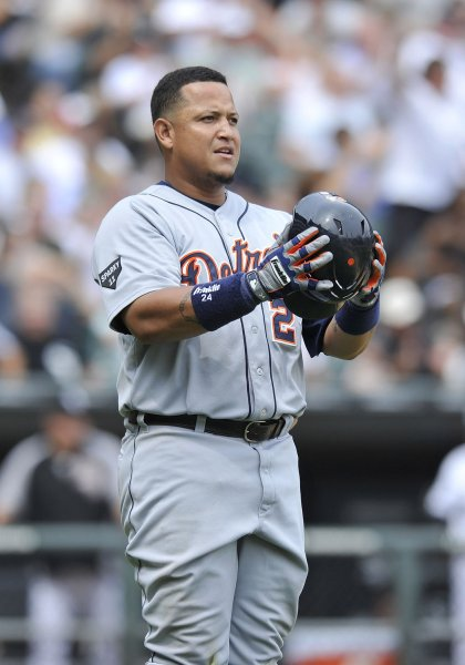 Detroit Tigers first baseman Miguel Cabrera stands on the field against the Chicago White Sox on July 27, 2011 at U.S. Cellular Field in Chicago. The White Sox won 2-1. UPI/Brian Kersey