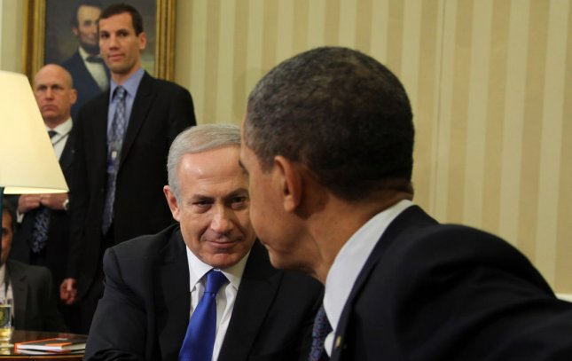 Israeli Prime Minister Benjamin Netanyahu shakes hands with President Barack Obama in the Oval Office of the White House, in Washington, D.C.on March 5, 2012. UPI/Martin H. Simon/Pool