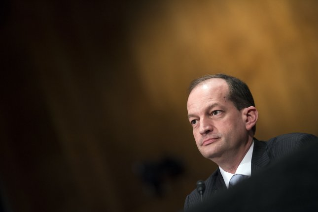 Labor Secretary Alex Acosta received full Senate confirmation on Thursday, becoming the last of President Donald Trump's Cabinet secretaries to receive approval. He replaced Andrew Puzder for the nomination after his withdrawal in February. Photo by Kevin Dietsch/UPI