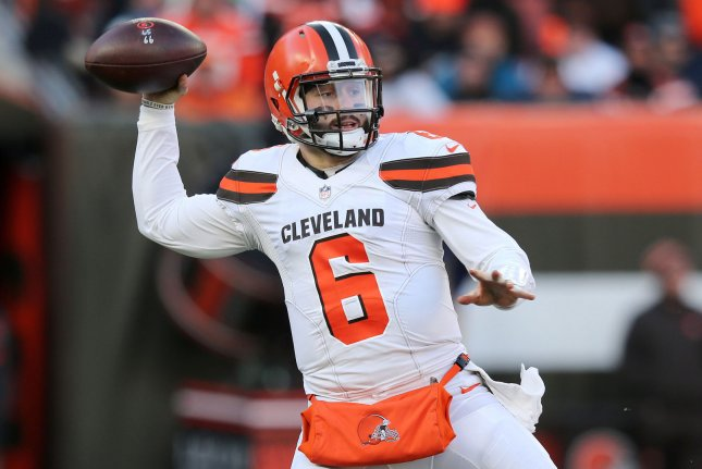 Cleveland Browns quarterback Baker Mayfield drops back to pass during a game against the Carolina Panthers at First Energy Stadium in Cleveland on December 9, 2018. Photo by Aaron Josefczyk/UPI