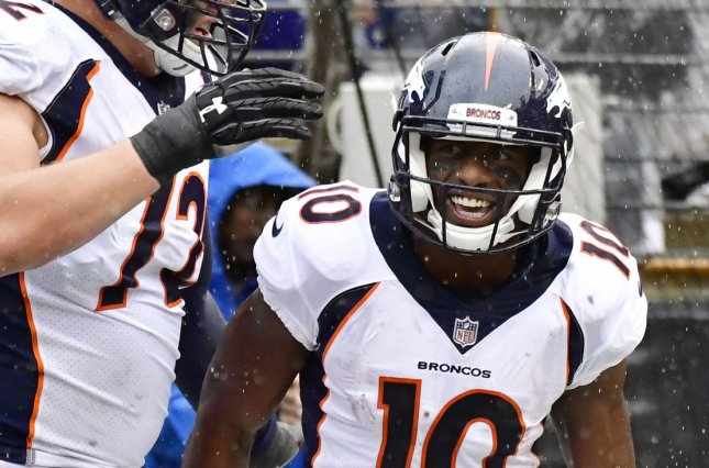 Denver Broncos wide receiver Emmanuel Sanders (10) has 30 receptions for 367 yards and two touchdowns this season. File Photo by David Tulis/UPI