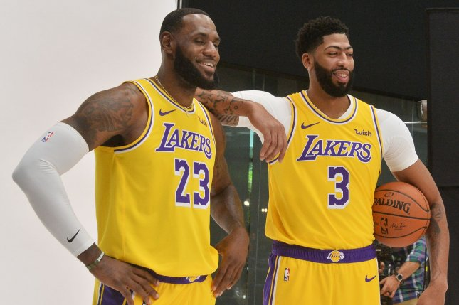 Los Angeles Lakers stars LeBron James (L) and Anthony Davis (R) combined for 53 points in a win against the Utah Jazz Friday in Los Angeles. Photo by Jim Ruymen/UPI