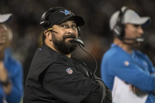 Detroit Lions head coach Matt Patricia is in his second season leading the team. The Lions started the season with a 2-0-1 record before falling to 3-10-1. File Photo by Terry Schmitt/UPI