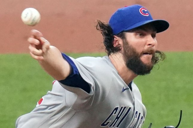 Chicago Cubs starting pitcher Trevor Williams delivers a pitch to the St. Louis Cardinals in the third inning Tuesday at Busch Stadium in St. Louis. Photo by Bill Greenblatt/UPI