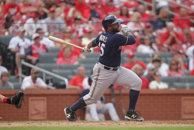 Milwaukee Brewers Jason Rodgers watches his grand slam home run leave the park in the ninth inning against the St. L:ouis Cardinas at Busch Stadium in St. Louis on September 27, 2015. Milwaukee defeated St. Louis 8-4. Photo by Bill Greenblatt/UPI