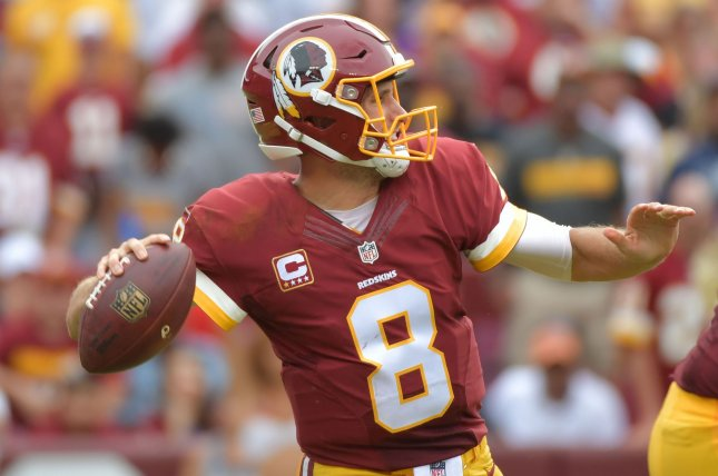 Washington Redskins quarterback Kirk Cousins passes against the Dallas Cowboys at FedEx Field in Landover, Maryland on September 18, 2016. Photo by Kevin Dietsch/UPI