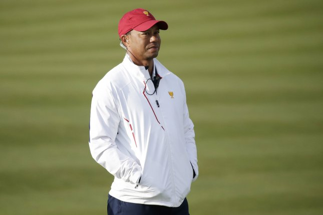 Assistant captain Tiger Woods of The United States team watches play in the morning foursomes matches at the Presidents Cup on September 30, 2017 at Liberty National Golf Club in Jersey City, New Jersey. File photo by John Angelillo/UPI