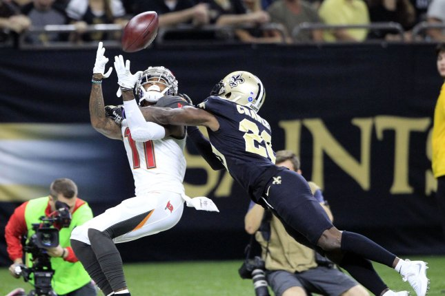 New Orleans Saints cornerback Ken Crawley (20) knocks the ball away from Tampa Bay Buccaneers wide receiver DeSean Jackson (11) on November 5, 2017 at the Mercedes-Benz Superdome in New Orleans. Photo by AJ Sisco/UPI