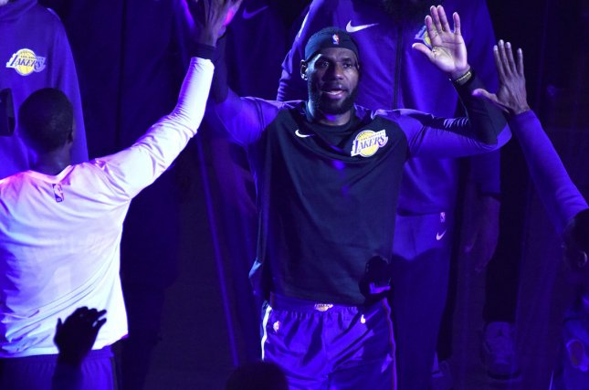 Los Angeles Lakers star LeBron James had 44 points against the Portland Trail Blazers on Wednesday in Los Angeles. Photo by Jon SooHoo/UPI