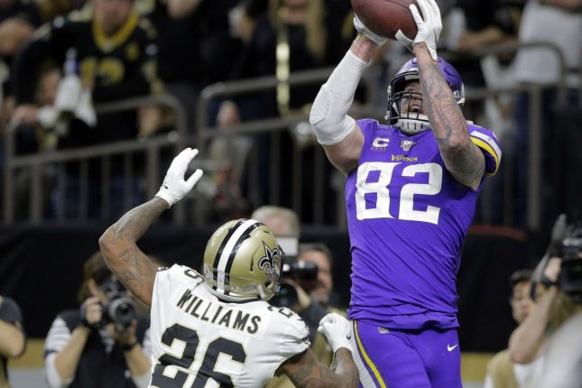 Minnesota Vikings tight end Kyle Rudolph (82) caught 28 passes on 37 targets for 334 yards and one touchdown in the 2020 season. File Photo by AJ Sisco/UPI