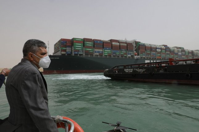 Lt. Gen. Ossama Rabei, head of the Suez Canal Authority, announced on Thursday that traffic through the Suez Canal had been suspended indefinitely. Photo via Suez Canal Authority/UPI