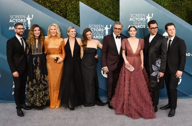 The cast of Schitt's Creek was honored at the Screen Actors Guild Awards on Sunday night. File Photo by Jim Ruymen/UPI