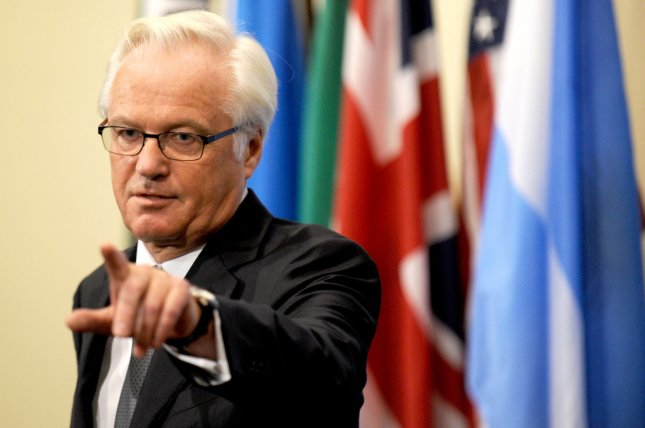 Vitaly Churkin, Russia's ambassador to the United Nations, speaks to reporters at United Nations Headquarters. (UPI/Dennis Van Tine)