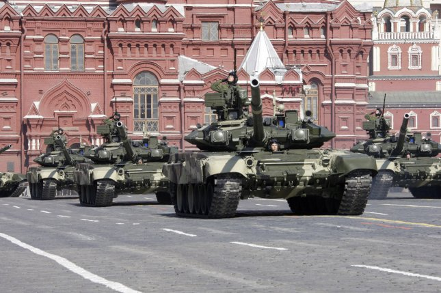 A tank unit of the Russian Army, on parade in Moscow's Red Square. (UPI Photo/Anatoli Zhdanov)