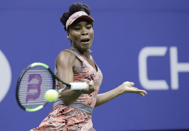 Venus Williams hits a forehand during the 2017 US Open Tennis Championships in New York. Photo by John Angelillo/UPI