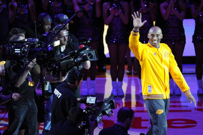 Los Angeles Lakers Kobe Bryant is introduced before his last game against the Utah Jazz at Staples Center in Los Angeles on April 13, 2016. File photo by Lori Shepler/UPI