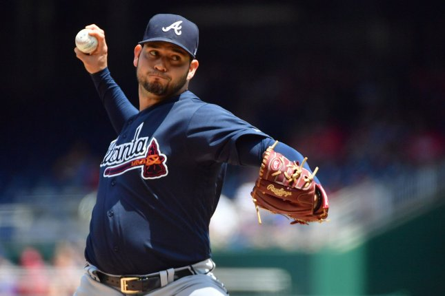 Atlanta Braves starting pitcher Anibal Sanchez (19) pitches against the Washington Nationals in the first inning on August 9 at Nationals Park in Washington, D.C. Photo by Kevin Dietsch/UPI