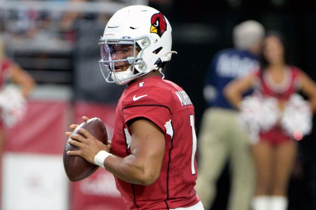 Arizona Cardinals quarterback Kyler Murray failed to lead his team on a scoring drive in a preseason game against the Oakland Raiders Thursday in Glendale, Ariz.  Photo by Art Foxall/UPI