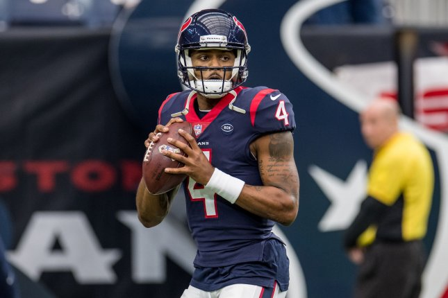 Houston Texans quarterback Deshaun Watson (pictured) is reportedly upset with the franchise over his lack of involvement in the process that led to the hiring of Nick Caserio earlier this week. File Photo by Trask Smith/UPI