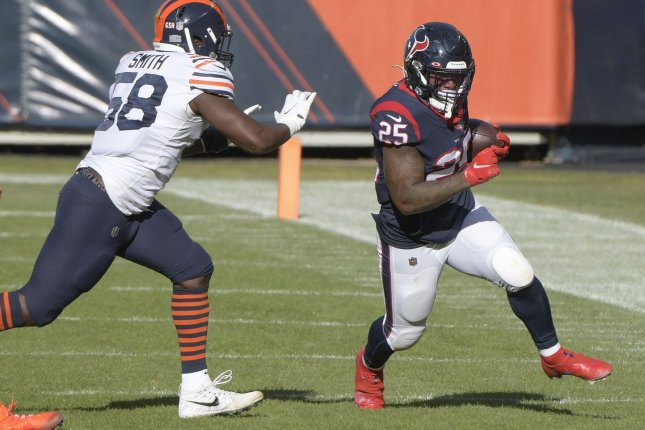 Houston Texans running back Duke Johnson (25) recorded 235 yards and one touchdown on 77 carries in 11 games last season. File Photo by Mark Black/UPI