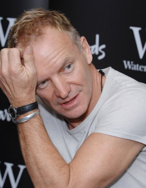 British singer Sting attends a signing of his book Lyrics, a collection of his song lyrics at Waterstone's, Harrods in London on October 20, 2007. (UPI Photo/Rune Hellestad)