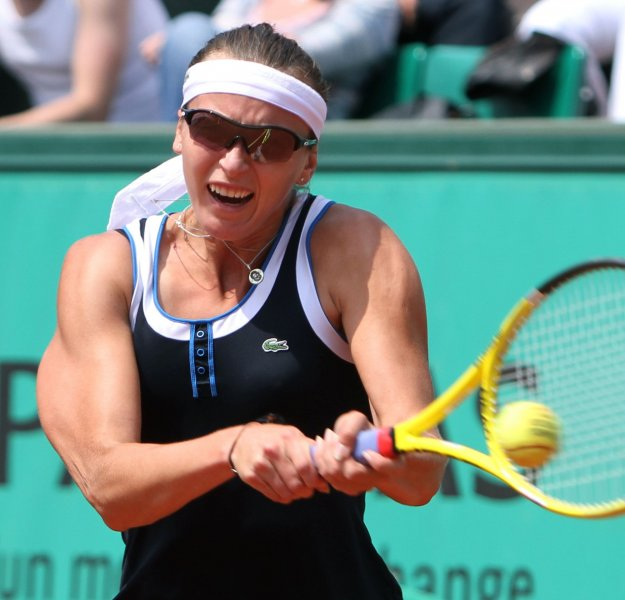 Yaroslava Shvedova, shown during this year's French Open was defeated Monday in first-round play of the Istanbul Cup in Turkey. UPI/David Silpa