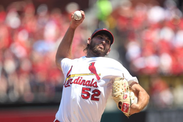 St. Louis Cardinals starting pitcher Michael Wacha delivers a pitch to the Pittsburgh Pirates in the second inning at Busch Stadium in St. Louis on May 3, 2015. Photo by Bill Greenblatt/UPI