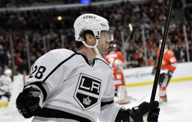 Los Angeles Kings center Jarret Stoll celebrates his goal during the second period against the Chicago Blackhawks at the United Center in Chicago on March 25, 2013. File Photo by Brian Kersey/UPI
