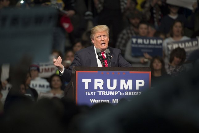 Republican presidential candidate Donald Trump on Friday backed out of a planned appearance at this weekend's Conservative Political Action Conference. His campaign said he would instead be in Kansas. Photo by Molly Riley/UPI