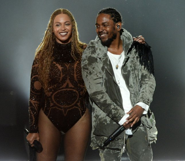 Beyonce and Kendrick Lamar smile after performing onstage during the 16th annual BET Awards at Microsoft Theater in Los Angeles on June 26, 2016. Photo by Jim Ruymen/UPI