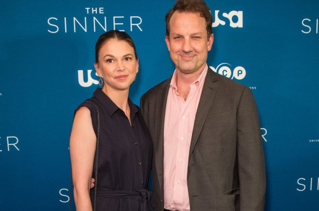 Sutton Foster and Ted Griffin arrive on the red carpet at the premiere of USA Network's series The Sinner in New York City on July 31. File Photo by Steven Ferdman/UPI