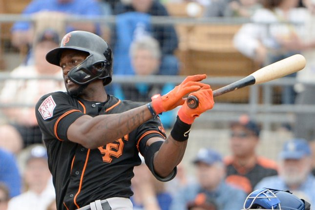 Cameron Maybin spent most of the spring with the San Francisco Giants before signing a minor league deal with the Cleveland Indians. The Indians have sent him to the New York Yankees for cash considerations. File Photo by Art Foxall/UPI