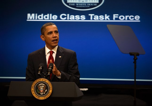 U.S. President Barack Obama at the White House in Washington, speaking of the Middle Class Task Force, Jan. 25, 2009. UPI/Martin Simon/POOL