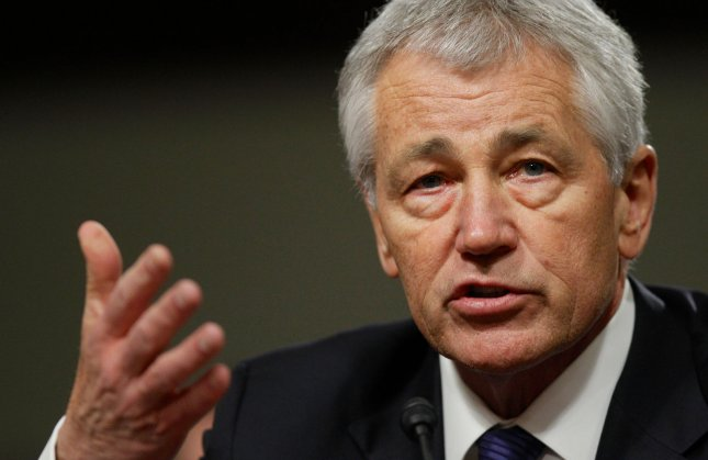 Former U.S. Sen. Chuck Hagel, R-Neb., answers questions before the Senate Armed Services Committee for his confirmation hearing for secretary of defense, in Washington, Jan. 31, 2013. UPI/Molly Riley