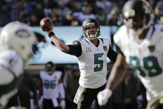 Jacksonville Jaguars quarterback Blake Bortles throws a pass in the first half against the New York Jets at MetLife Stadium in East Rutherford, New Jersey on November 8, 2015. The Jets defeated the Jaguars 28-23. Photo by John Angelillo/UPI Photo by John Angelillo/UPI
