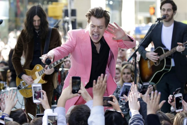 Harry Styles performs on NBC's Today in New York City on May 9. He and James Corden appeared in a Carpool Karaoke segment that went viral early Friday. Photo by John Angelillo/UPI