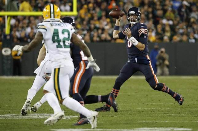 Former Chicago Bears quarterback Mike Glennon (8) looks to pass the ball against the Green Bay Packers during the second half on September 28, 2017 at Lambeau Field in Green Bay. Photo by Kamil Krzaczynski/UPI