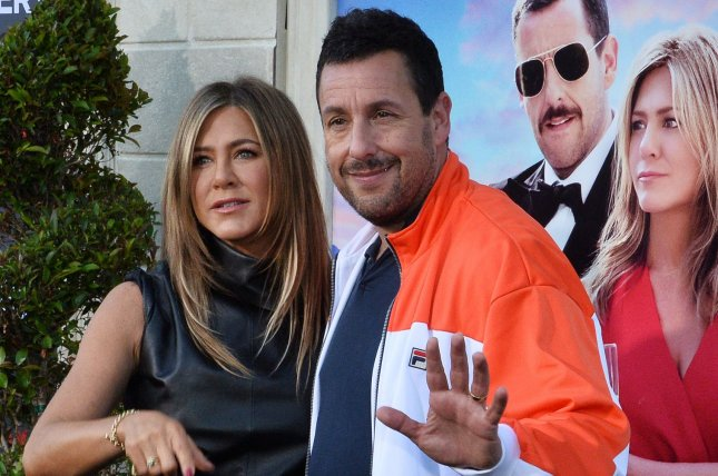 Murder Mystery, starring Jennifer Aniston (L) and Adam Sandler was Netflix's most popular release of 2019. File Photo by Jim Ruymen/UPI