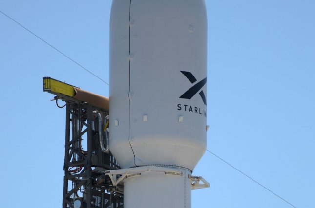 A SpaceX Falcon 9 rocket stands poised to launch the company's Starlink satellites in May, similar to a launch planned for Tuesday morning. File Photo by Joe Marino-Bill Cantrell/UPI