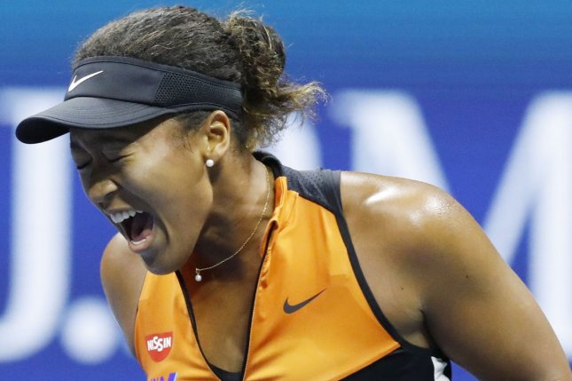 Naomi Osaka (pictured) will face American Shelby Rogers in the 2020 U.S. Open women's singles quarterfinals after she beat Anett Kontaveit in straight sets Sunday in Queens, N.Y. File Photo by John Angelillo/UPI