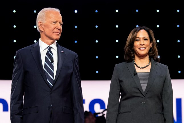 The letter threatened to kill former Vice President Joe Biden, Sen. Kamala Harris and former Rep. Gabby Giffords. File Photo by Kevin Dietsch/UPI