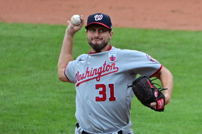 Washington Nationals starting pitcher Max Scherzer, shown Aug. 16, 2020, entered Friday with a 5-4 record and 2.22 ERA this season. File Photo by David Tulis/UPI