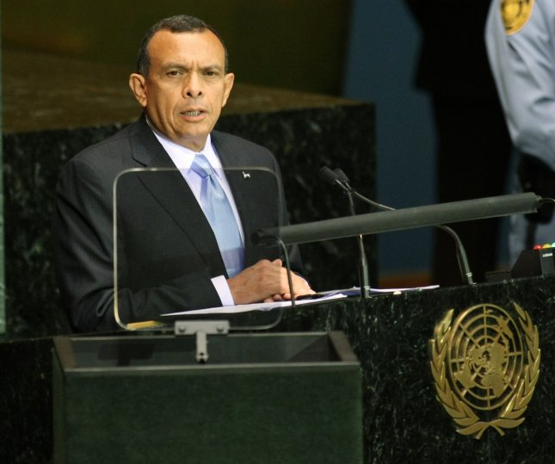 Honduran President Porfirio Lobo Sosa speaks during the Millennium Development Goals Summit at the United Nations on September 20, 2010 in New York. UPI /Monika Graff